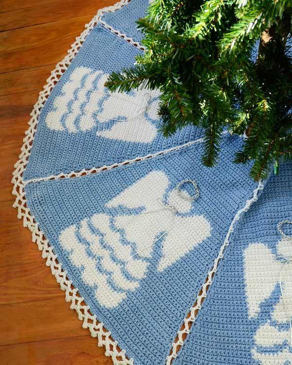 Heaven Sent Tree Skirt Crochet Pattern | Deckchen, Stricken häkeln ...