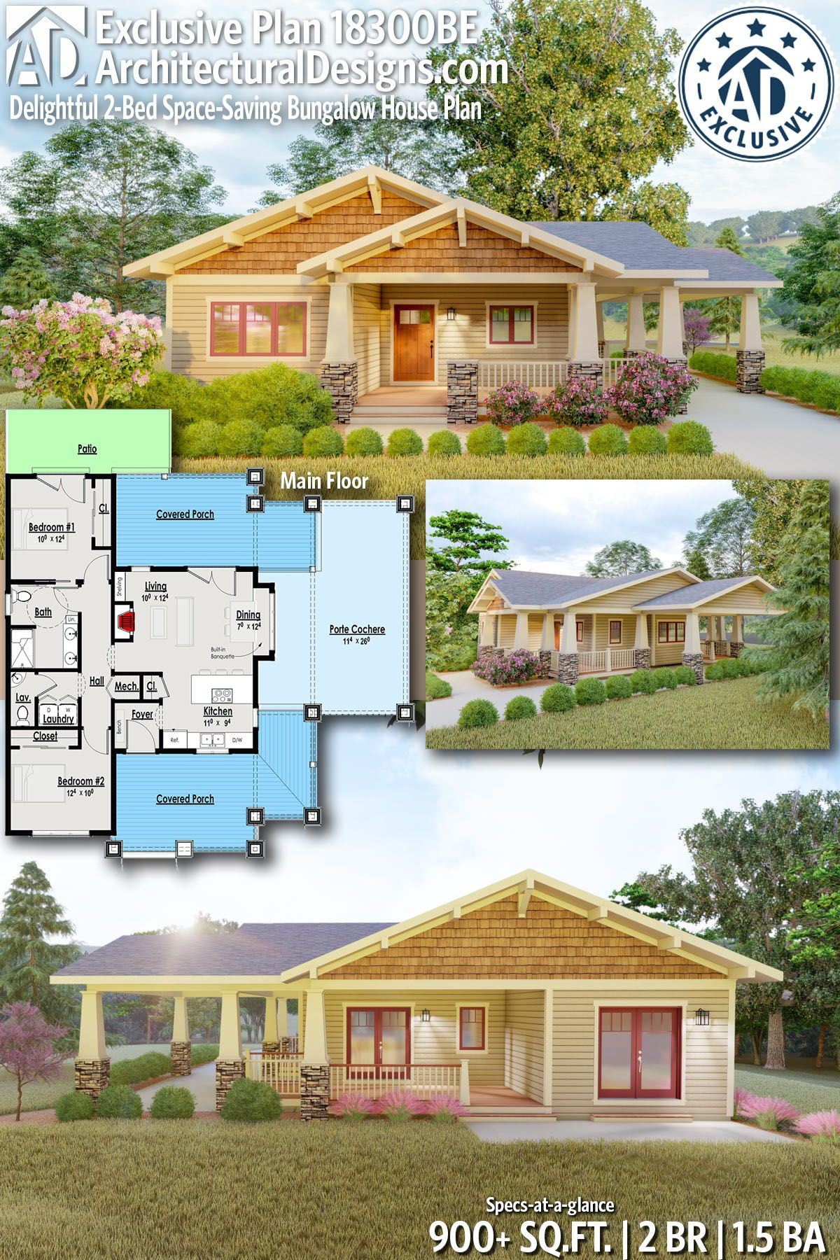 Architectural designs exclusive bungalow house plan be gives you bedrooms baths and also delightful bed space saving in rh pinterest