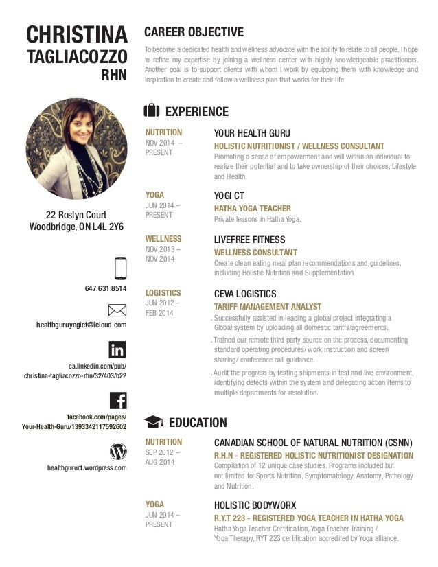 Health and Wellness Resume Work Better Pinterest - wellness consultant sample resume