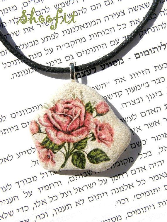 Rose Rose necklace Rose pendant stone necklacestone by Shoofit
