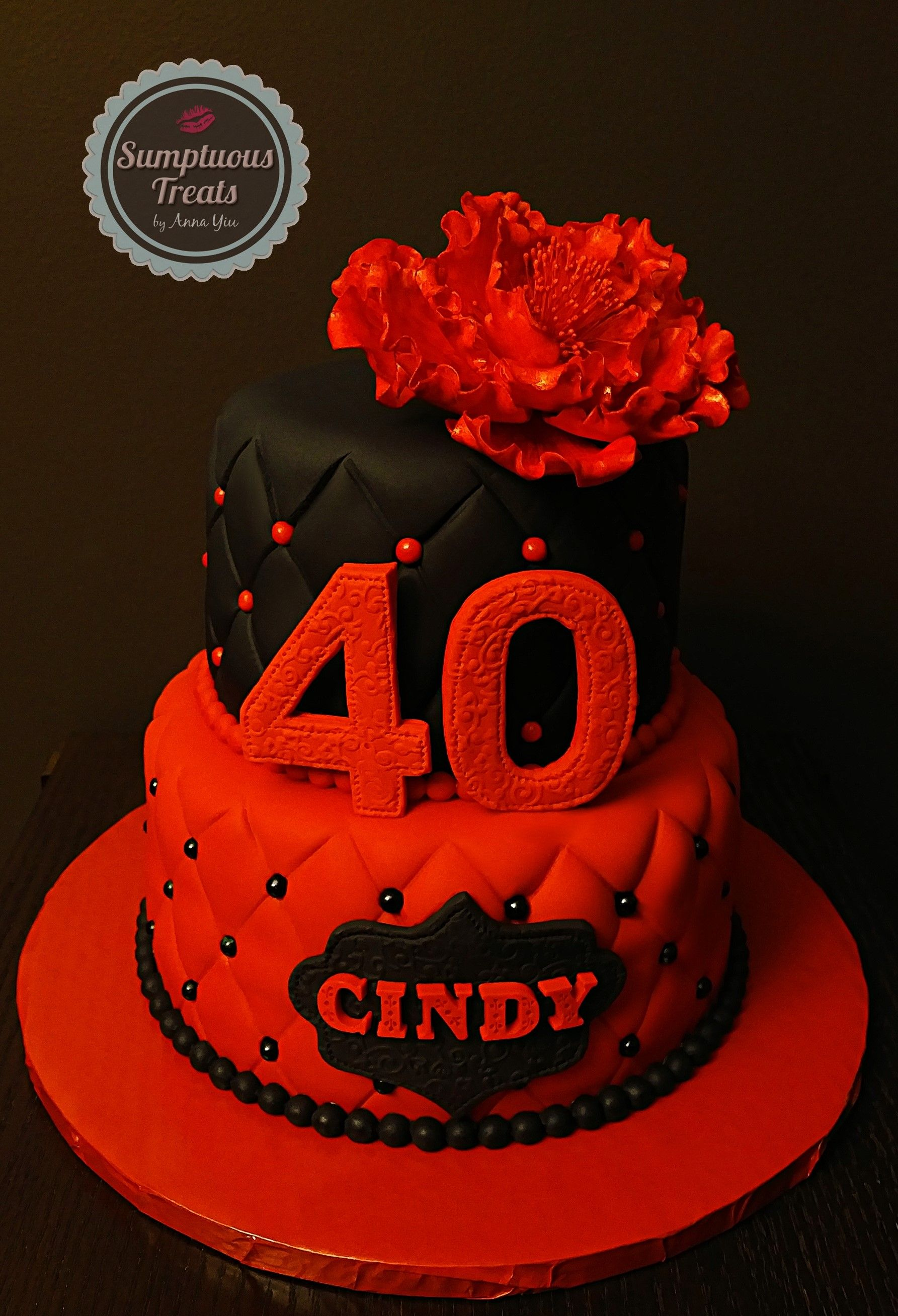 Red Black 40th Birthday Cake CustomMadeToOrder Cakes