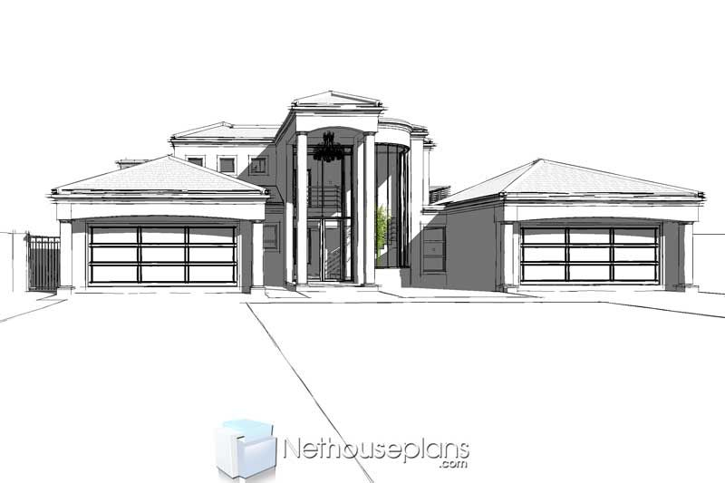 5 Bedroom Double Storey House Plan In South Africa Nethouseplansnethouseplans In 2020 House Plans South Africa Double Storey House Double Storey House Plans