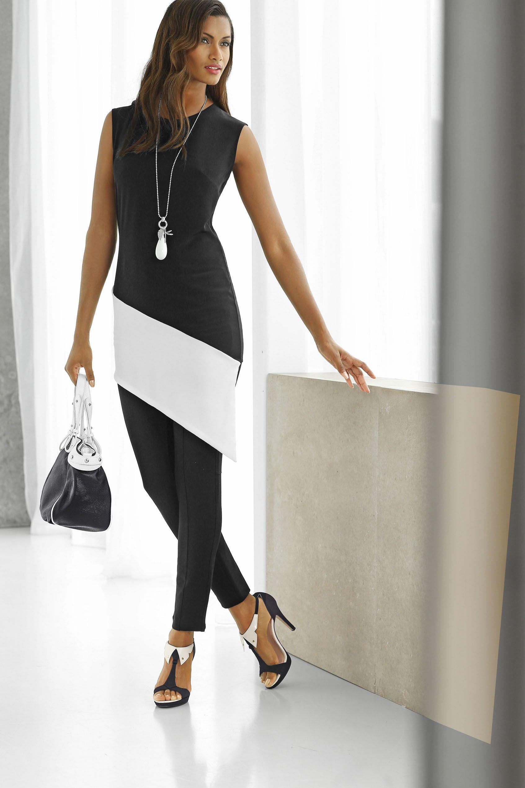 Longshirt mit asymmetrischem Saum und kontrastfarbenen Blockstreifen!