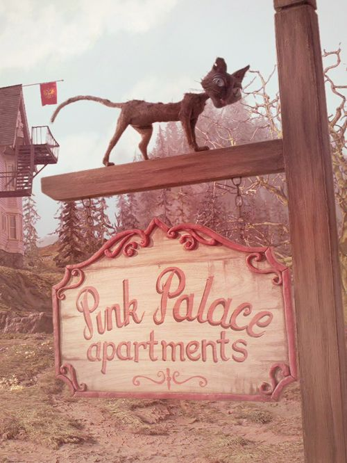 Cine Pink Palace Sign With Cat