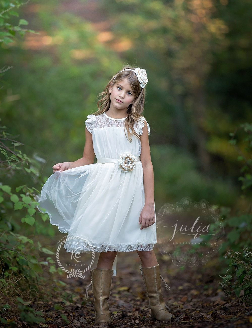 fiore ragazza vestito avorio fiore ragazza di KhambralCouture