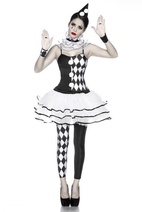 5 Tlg Harlekinkostum Schwarz Weiss Harlekin Fur Damen Kostum Clown