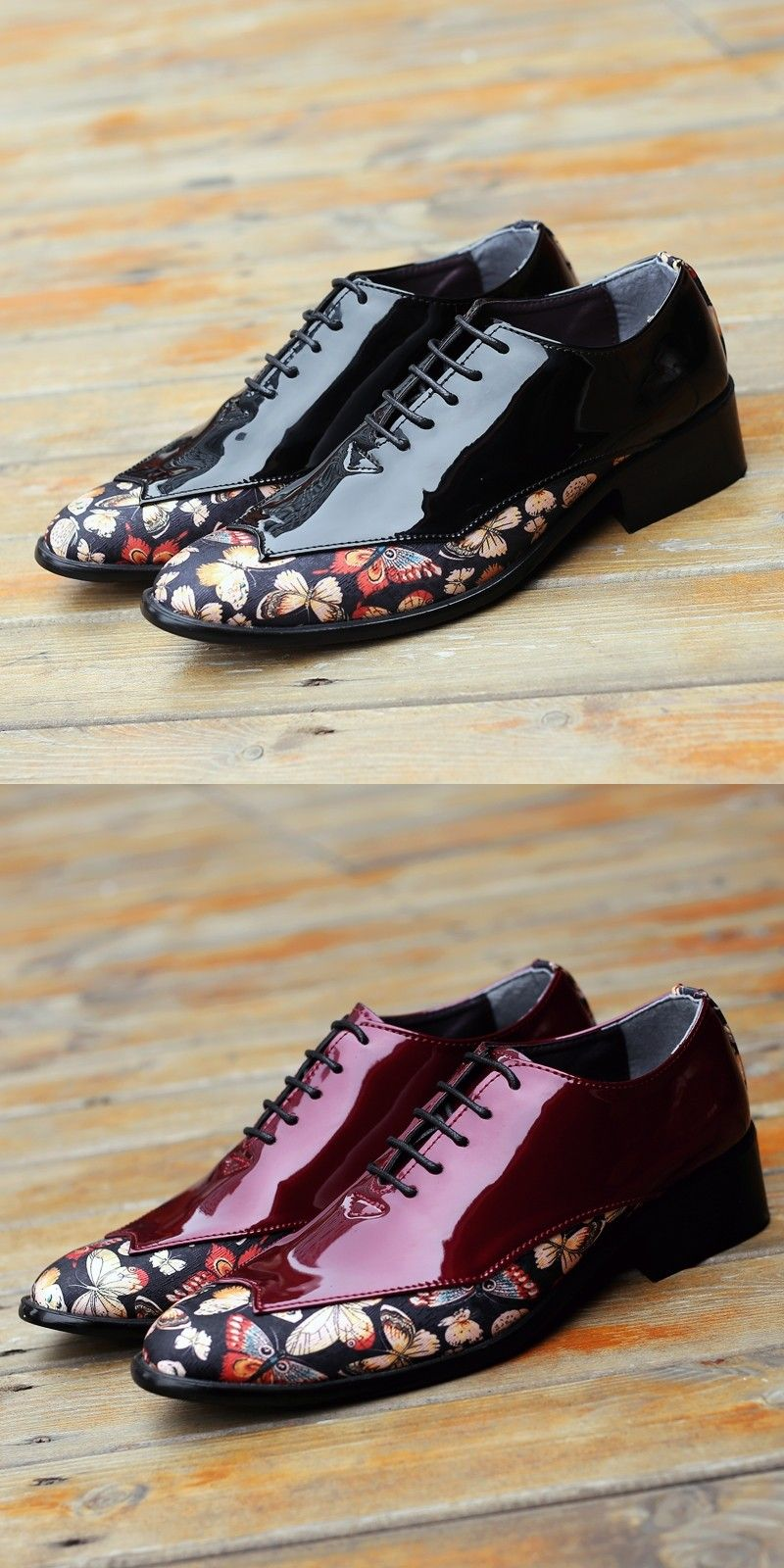 US $24 4 Click to buy> Prelesty Men Dress Oxfords Shoes Party Formal Meeting Wedding Handsome Shiny Flowers is part of Shoes -