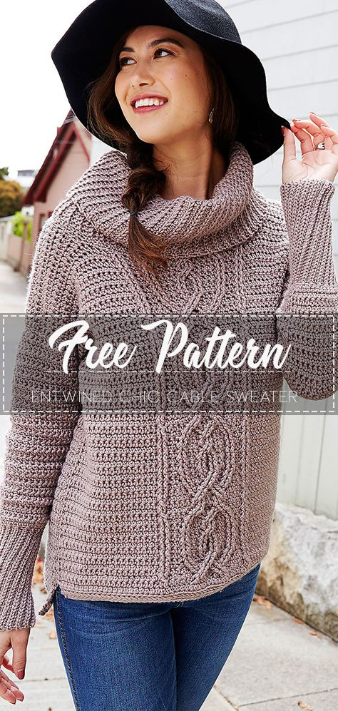 Entwined Chic Cable Sweater Free Pattern In 2020 With Images Crochet Sweater Pattern Free Crochet Sweater Free Sweater Crochet Pattern