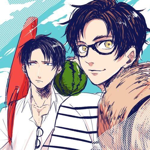 Summer Eren and Levi ~ | Shingeki no Kyojin || https://twitter.com/mc00km/status/464708870015692800/photo/1 [please do not remove this caption with the source]