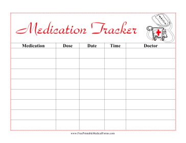 Featuring A Cute Cartoon Picture Of An Ambulance And Written In Red Letters This Printable Medical Form Helps Kids Keep Track Medication Taken