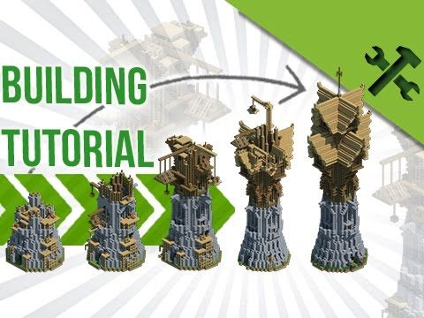 Huge Fantasy Wizard Tower Advanced Build Tutorial By Jeracraft Minecraft Projects Minecraft Medieval Minecraft Plans