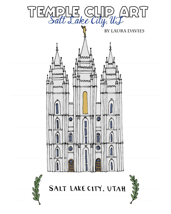 Clip Artlds Temple Salt Lake City Ut By Mysweetroseillustrat Lds