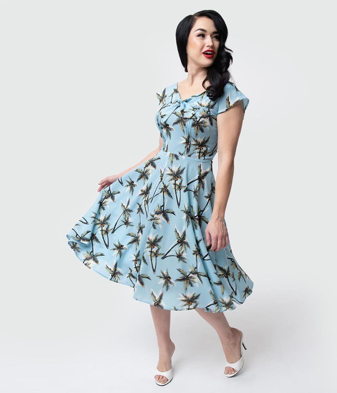 1940s Dresses 40s Dress Swing Dress Unique Vintage 1940s Style Light Blue Palm Tree Print Havilland Dress 50 00 1940s Fashion 1940s Dresses Unique Dresses [ 1275 x 1095 Pixel ]