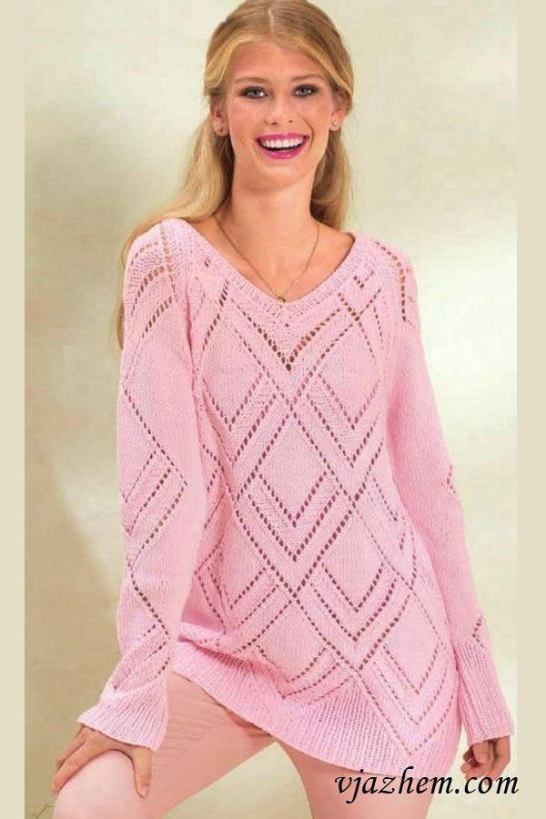 Длинный пуловер реглан