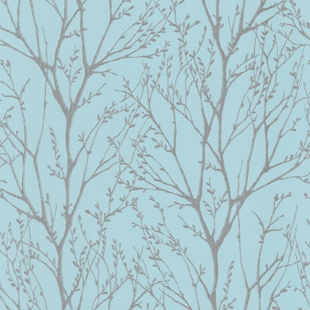 Shimmer tree wallpaper teal silver ilw980006 for Teal wallpaper living room