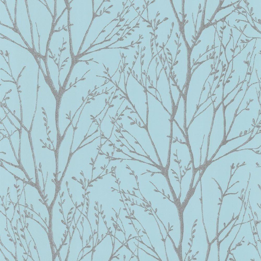 I Love Wallpaper Shimmer Wallpaper Teal Silver ILW980006