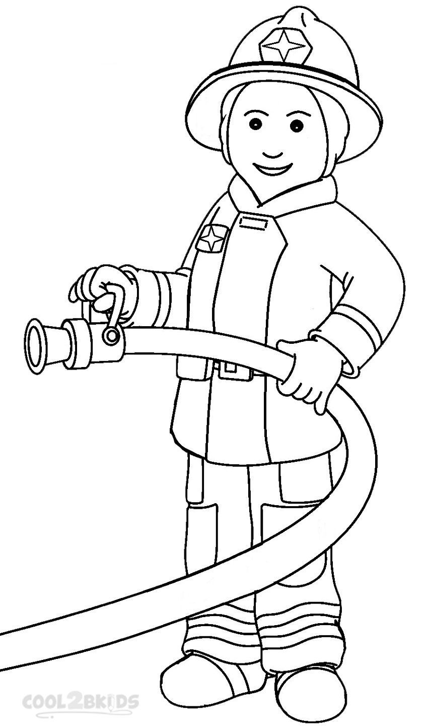 Fireman Coloring Pages Community Helpers Preschool Community