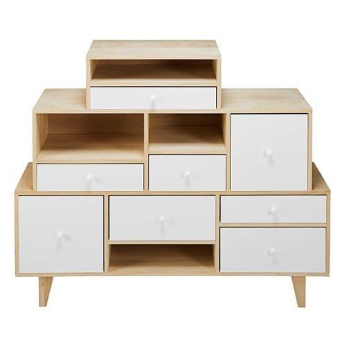Cabinet déstructuré 8 tiroirs en paulownia blanc Drawers, Living