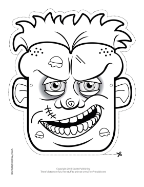 Male Zombie Outline Mask Printable Mask