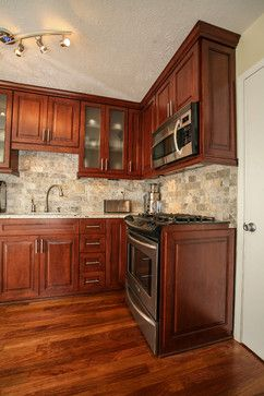 Small Kitchen Design With Cherry Wood Cabinets Kitchen Remodel
