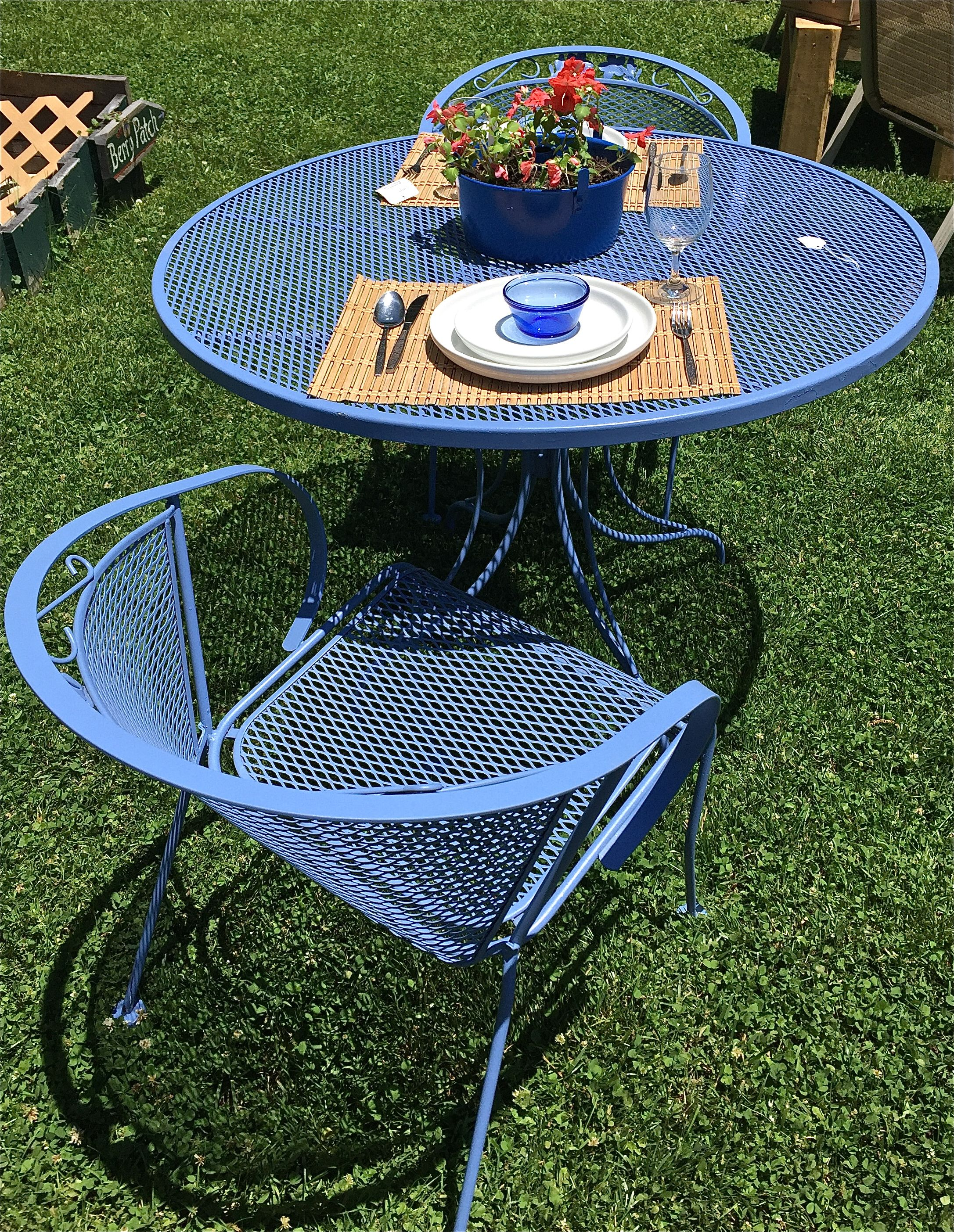 Vintage Wrought Iron Painted Set Wrought Iron Outdoor Furniture