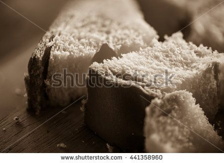 Sliced white bread in sepia tone.Toned image,soft focus,film noir style.