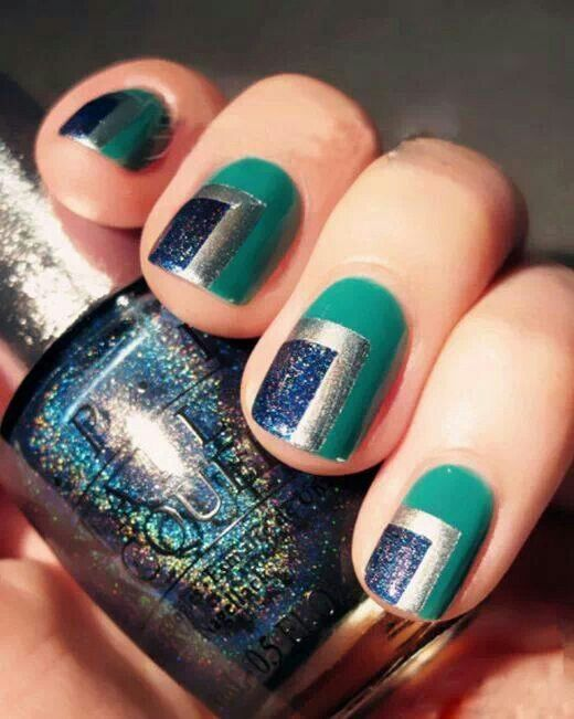 Seattle Mariners colored nails | Nails | Pinterest | Color nails ...