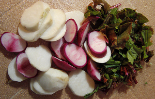 Sliced Baby Turnips with Greens
