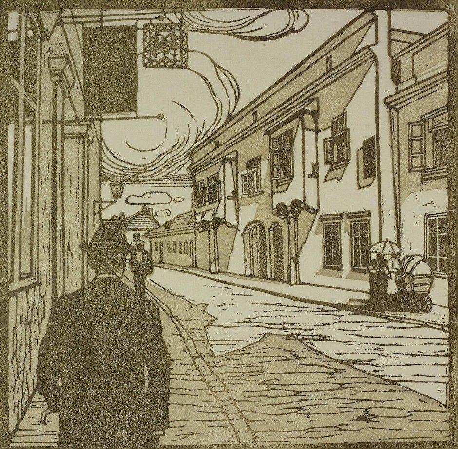 "Carl Moll, ""Beethoven Häuser, Mödling Hauptstraße 79"", um 1902. | Gravure  sur bois, Peinture, Bois"