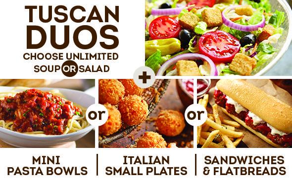 Tuscan Duo Starting at 6.99 Dinner menu, Dinner