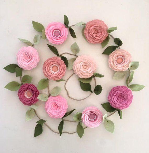 Pink Roses Garland Felt Flower Garland Floral Garland Spring Garland Nursery Decor Baby Shower Decor Valentine S Day