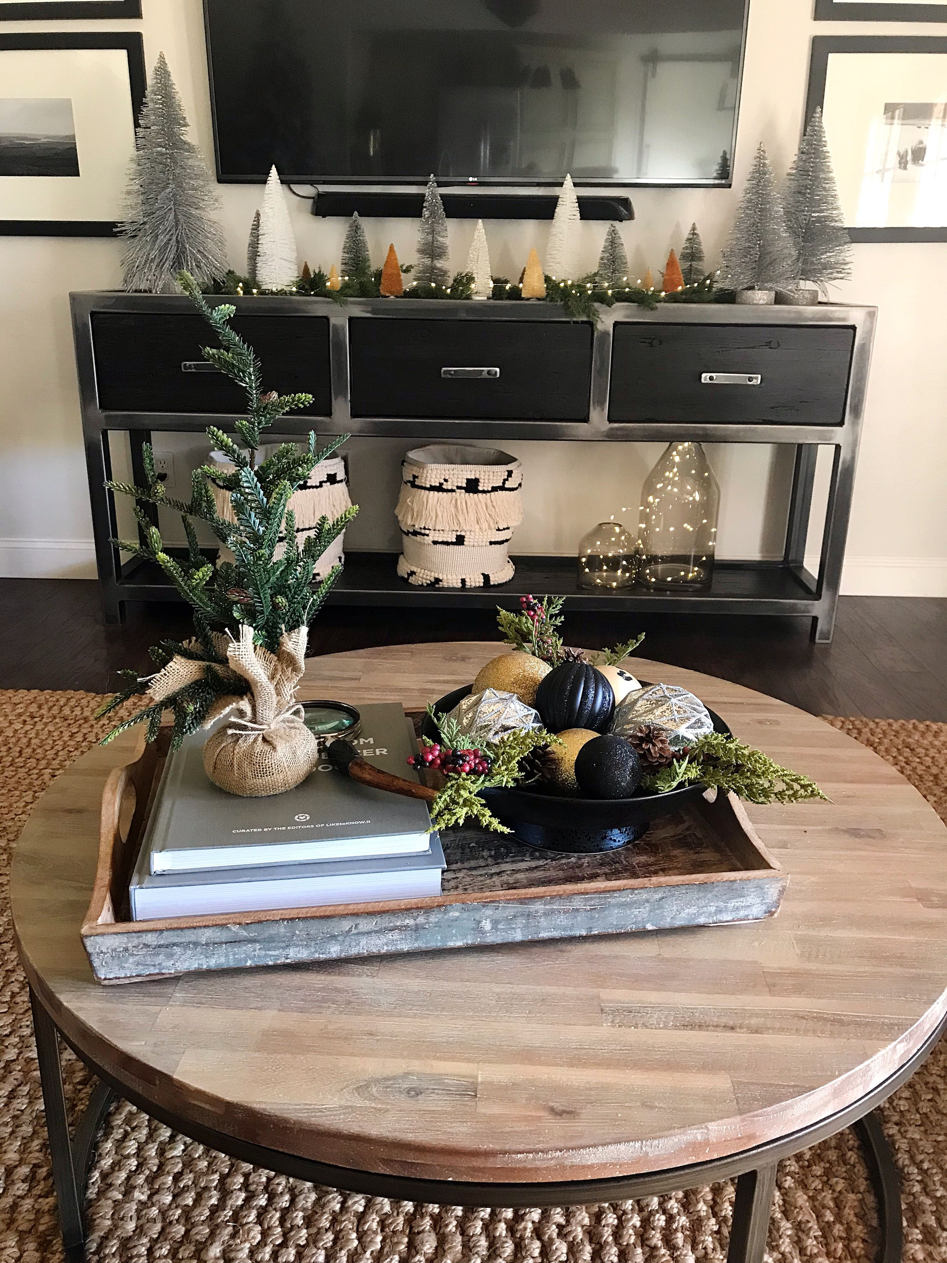 Front View Of Media Console With Trees Christmas Coffee Table Decor Christmas Decor Inspiration Decor