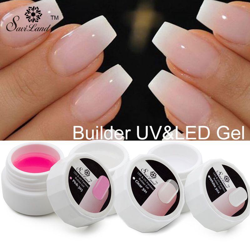Saviland 1Pcs Pink White Clear UV Builder Gel Crystal