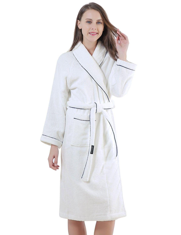 104d18821400 Terry Cotton Cloth Plush Bathrobe- Soft- Thick- Long Size- Bath ...