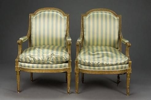 Superbe Louis XVI Fateuil With Neoclassical Elements Of Style Like Stripes, Die  With Rosette And Gold Gilt Frame. Other Characteristics Include Louis Xvi  Legs And ...