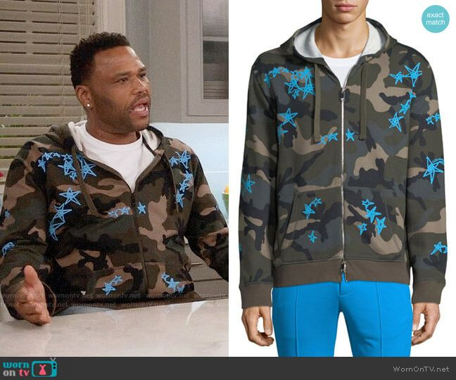 c5ced596cf Andre s camouflage hoodie with blue stars on Black-ish