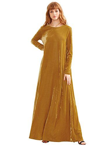 bf82c5926971 MakeMeChic Womens Elegant Dolman Sleeve Velvet Loose Maxi Dress Yellow L  >>> You can get more details by clicking on the image.