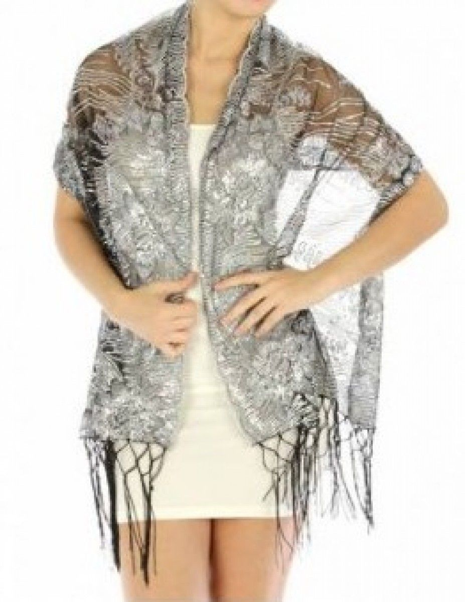6616973b35981 Black   Silver Stunning Shawl - Silk Evening Shawls - Dressy Evening Shawls