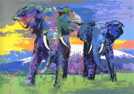 Image Detail for - leroy neiman nieman kilimanjaro bulls elephants africa animals
