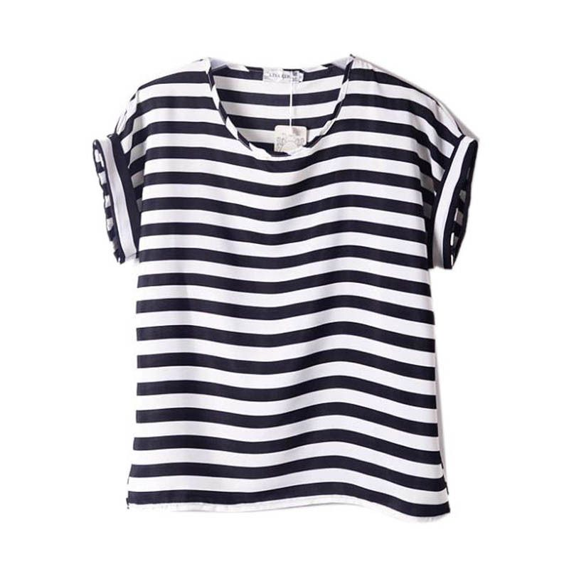 Women Chiffon T Shirts Tops Loose Short Sleeve Ladies T-shirts ...