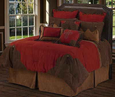The Red Rodeo western bedding set features a beautiful, rich faux ...