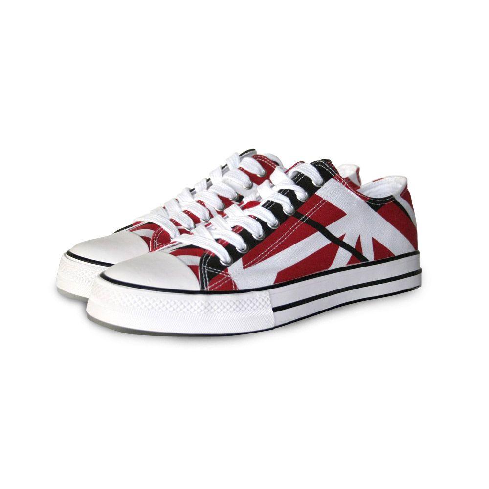 Eddie Van Halen Official Store Eddie Van Halen Red Black White Striped Low Top Sneakers Sneakers Striped Sneakers Van Halen