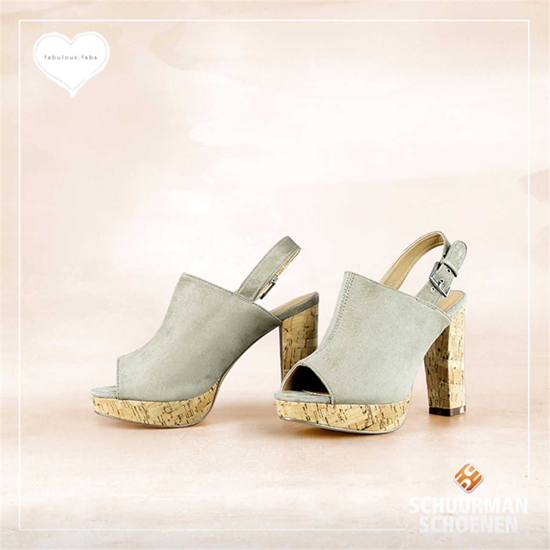 Fabs dames sandalen met plateauzool, kurkzool, peeptoe, slingback en hak van 10 cm