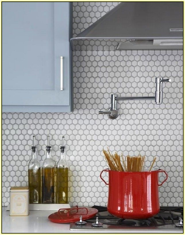 White Penny Tile Backsplash Home Design Ideas Penny