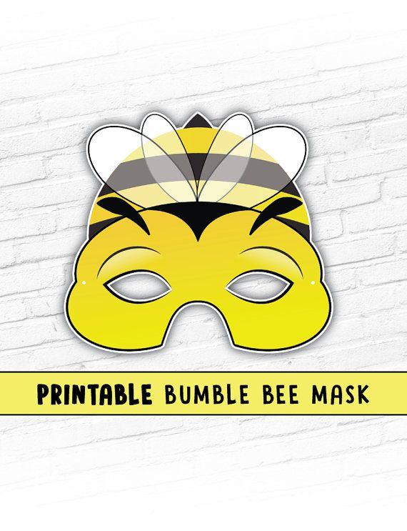Bumble Bee Printable Mask Photo Prop Bug Mask by