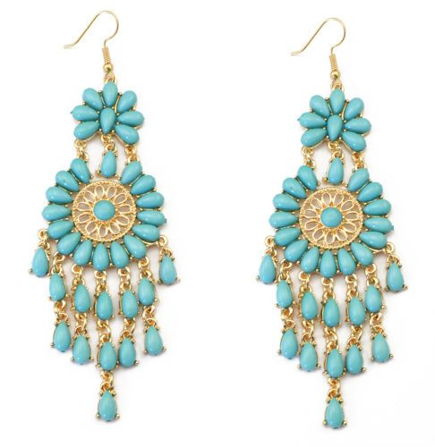 European-Bohemian-Gold-Plated-Acrylic-Flower-Tassels-Statement-Dangle-Earrings