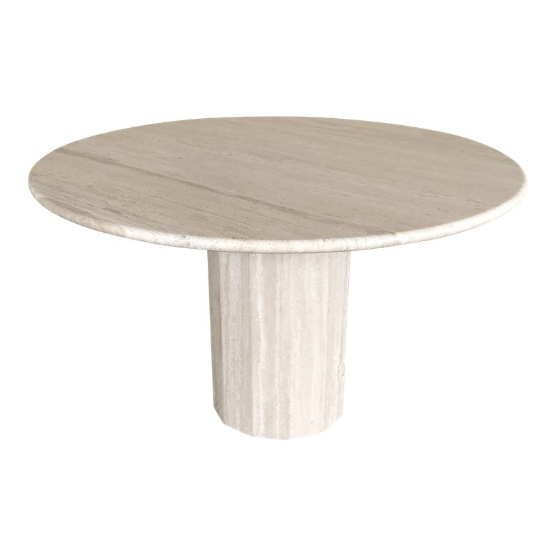 1970 S Italian Stone International Round Travertine Dining Table