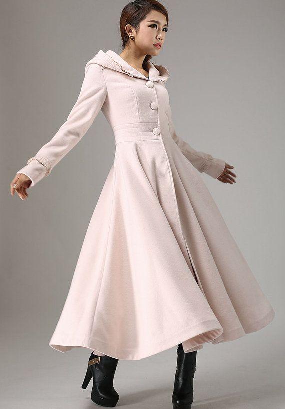 winter outwear Light white pink coat hooded coat by xiaolizi ...
