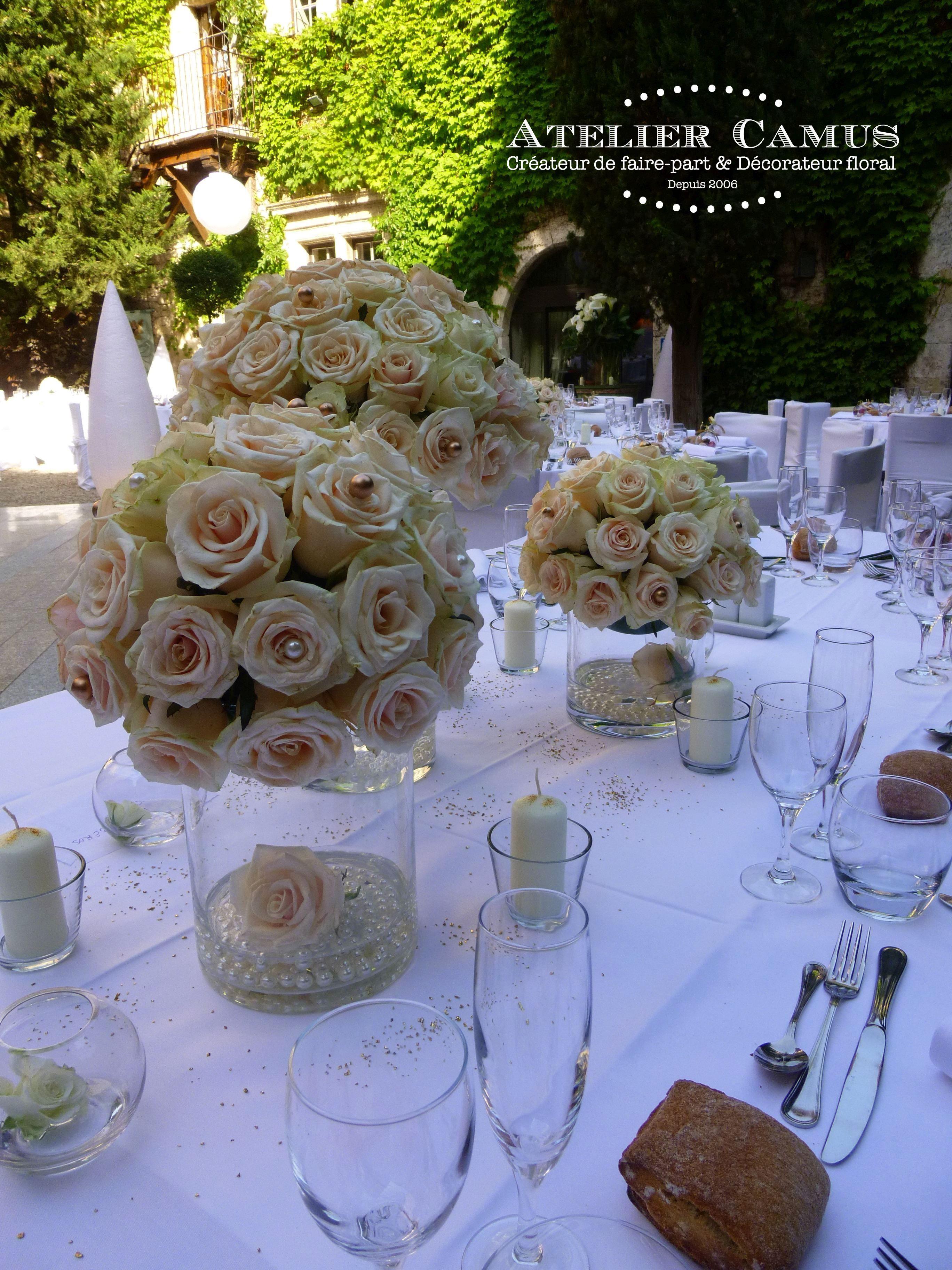 Centre De Table Design pour un mariage chic et glamour : centre de table avec des