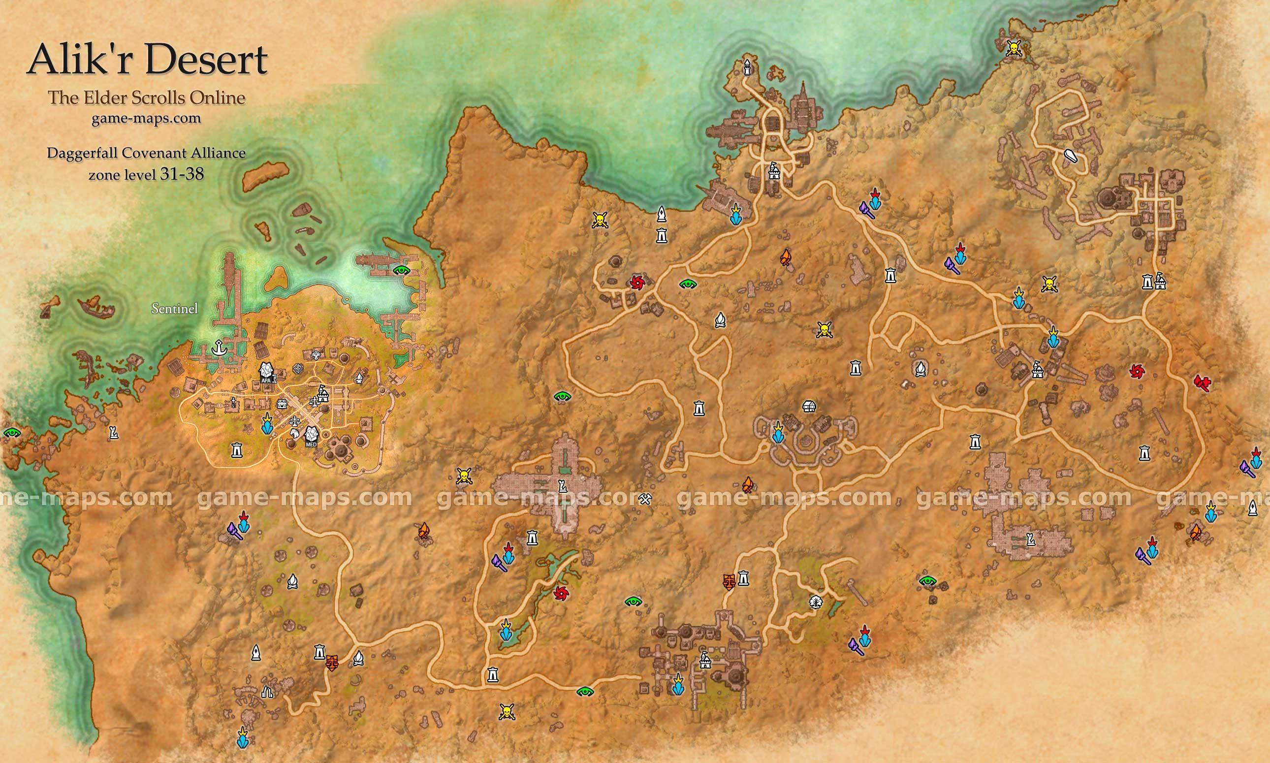 Alik'r Desert zone map. Sentinel. Southern part of Daggerfall ... on